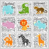 African animals set vector background Royalty Free Stock Photos