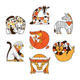 African animals set. Vector illustration Royalty Free Stock Photo