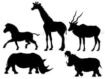 African animals silhouettes. African herbivorous animals vector silhouettes Stock Photo