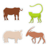 African Animals  Silhouettes Made as Stickers. African Buffalo, Rhinoceros, Oryx, Monkey  Silhouettes Made as Stickers or Air Fresheners for Car. Vector EPS 10 Stock Images