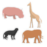 African Animals  Silhouettes Made as Stickers. African Hippopotamus, Giraffe, Elephant and Honey Badger  Silhouettes Made as Stickers or Air Fresheners for Car Royalty Free Stock Photo