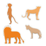 African Animals  Silhouettes Made as Stickers. African Meerkat, Cheetah, Hyena and Lion  Silhouettes Made as Stickers or Air Fresheners for Car. Vector EPS 10 Royalty Free Stock Photography