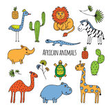 African animals sketch. Sketch on the theme of Africa. Animals, birds and plants drawn by hand on a white background Royalty Free Stock Image