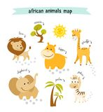 African animals vector map with trees and animal footprints. Editable vector illustration Stock Photo