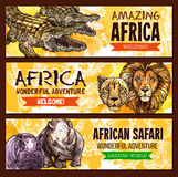 African animals vector poster for safari adventure Stock Photo