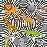 African animals. Vector seamless background. African animals on zebra background Royalty Free Stock Photos