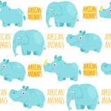 African animals vector seamless pattern: elephant, rhino, hippo. Royalty Free Stock Image