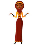 African arab muslim attractive young lady presenting something Royalty Free Stock Image