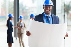 African architect blue print Royalty Free Stock Photo