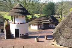 African architecture in the Africa Museum, Berg en Dal, Groesbeek, Nijmegen, Netherlands. Primitive huts with painted decorations in the outdoor Afrika Museum ( Stock Photos