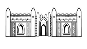 African Architecture. The mosque from clay. Monochrome drawing isolated on a white background. Vector illustration royalty free illustration