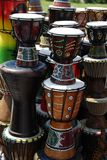 African art on drums. A view of a variety of African drums, covered with beautiful African art work Royalty Free Stock Photography