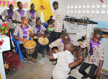 AFRICAN ART GROUP. Ivorian artistic group rehearsing the sound of the African djembe rhythm during the preparations for the Games of the Francophonie 2015 Stock Photography