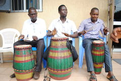 AFRICAN ART GROUP. Rehearsing the sound of the African djembe rytme during preparations for the Francophone Games 2015 edition Stock Photos