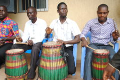 AFRICAN ART GROUP. Rehearsing the sound of the African djembe rytme during preparations for the Francophone Games 2015 edition Royalty Free Stock Image