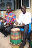 AFRICAN ART GROUP. Rehearsing the sound of the African djembe rytme during preparations for the Francophone Games 2015 edition Royalty Free Stock Photos