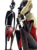 African art statuettes. Two African statuettes isolated on white background Royalty Free Stock Photo
