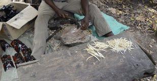 African artisan,wood carver, Kenya. Craftsman Royalty Free Stock Images
