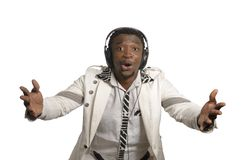 African artist having fun with head phones Royalty Free Stock Images