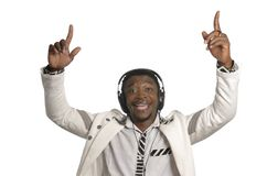 African artist having fun with head phones Stock Photo