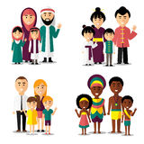 African, asian, arab and european families. Vector characters icons set Stock Photos