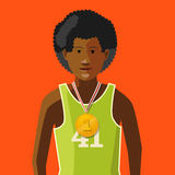 African athlete with golden medal for first place on red, flat illustration. African athlete with golden medal for first place on red background, flat Royalty Free Stock Image