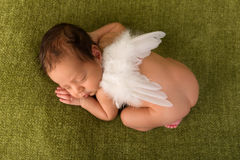 African baby with angel wings. Adorable African newborn baby of 7 days old sleeping on a green blanket Royalty Free Stock Photo