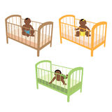 African baby in bed. Vector illustration of african baby in bed Vector Illustration