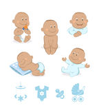 African baby boy vector set Royalty Free Stock Images