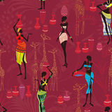 African background. Vector seamless pattern with african women bearing clay pots Stock Photography