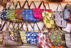 African Bags. Assortment of bags for sale at an outdoor market in Accra Ghana Royalty Free Stock Photos