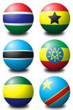 African balls 2. 3D spherical flags representing African countries Stock Photography