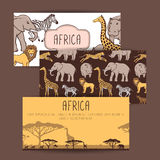 African banners with cute animals Stock Images