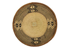 African Basket 1. Isolated brown and tan woven african basket Stock Photography