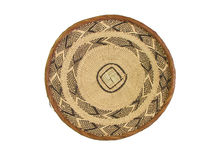 African basket 3. Isolated brown and tan woven african basket Royalty Free Stock Photo