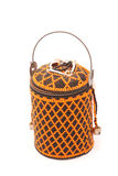 African basket. A colorful African basket with beads and closed lid. Image isolated on white studio background royalty free stock photos