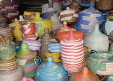African basket. Basket in a shop in Dakar in Senegal in Africa Royalty Free Stock Image