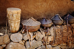African baskets - Ethiopia. African baskets and containers on wall Stock Photography