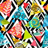 African batik tropical seamless pattern. Abstract summer decoration palm leaves hearts flowers ornament. royalty free illustration