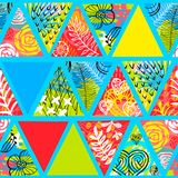 African batik tropical seamless pattern. Abstract summer decoration palm leaves hearts flowers ornament. stock illustration