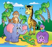 African beach with cute animals. Illustration Stock Photography