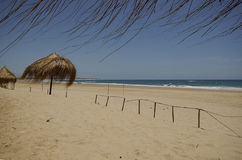 African beach. Parasols on a African beach in Mozambique Royalty Free Stock Photo
