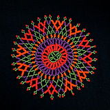 African beaded design pattern. Colorful beaded African design pattern on black background stock images