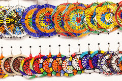 African Jewellery Art Colors. Beading jewelery detail and colors and contrasts for African consumers royalty free stock photography