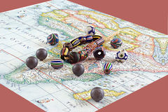 African beads with map Royalty Free Stock Photo