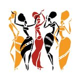 African Beautiful Women. African dancers. Dancing woman in ethnic style. Vector Illustration Stock Images