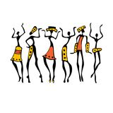 African Beautiful Women. African dancers. Dancing woman in ethnic style. Vector Illustration Stock Photography