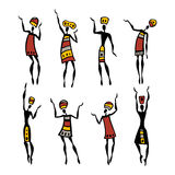 African Beautiful Women. African dancers. Dancing woman in ethnic style. Vector Illustration royalty free illustration
