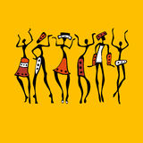 African Beautiful Women. African dancers. Dancing woman in ethnic style. Vector Illustration stock illustration