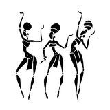 African Beautiful Women. Silhouette of woman. African dancers. Dancing woman in traditional ethnic style. Vector Illustration Stock Photography